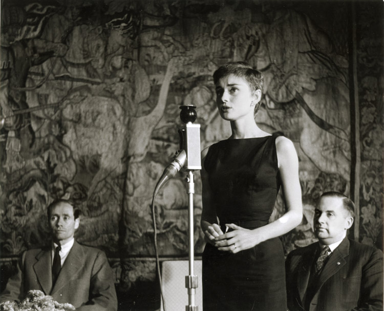 Dominique Berretty - Actress Audrey Hepburn Speaking (with Mel Ferrer in background)