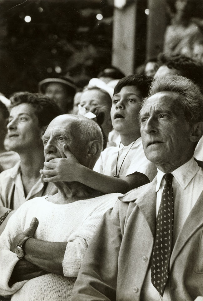 Brian Brake - Pablo Picasso, Son Claude and Jean Cocteau at a Bullfight, Vallauris, France