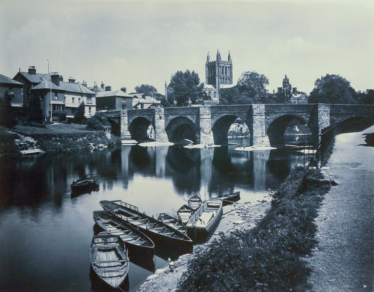 Adolphe Braun & Co. - Hereford Cathedral and Wye Bridge, England