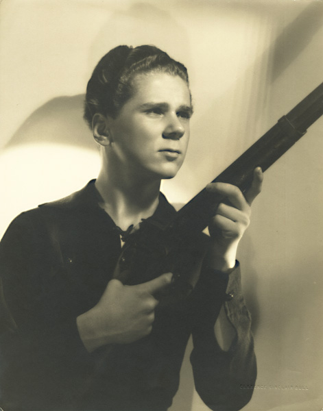 "Clarence Sinclair Bull - Jackie Cooper in ""Boy of the Streets"" with Flintlock Rifle"